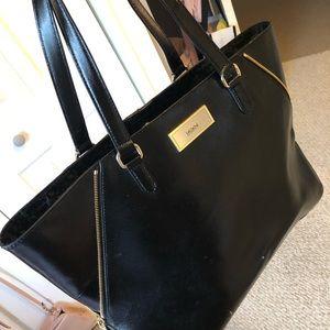 DKNY large black leather tote bag